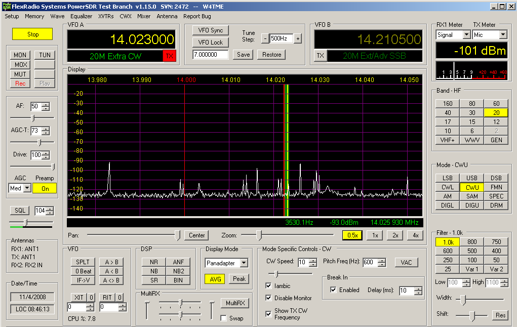 Configure CWSkimmer with PowerSDR for Wide Band Operation